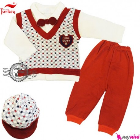 بلوز شلوار کلاه نخی ترکیه قرمز شطرنجی Baby tshirt and pants