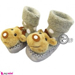 پاپوش عروسکی جغجغه ای نوزاد طوسی گوزن Baby socks