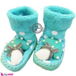 پاپوش عروسکی جغجغه ای نوزاد فیروزه ای قارچ Baby socks