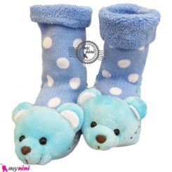 پاپوش عروسکی جغجغه ای نوزاد آبی خرس Baby socks