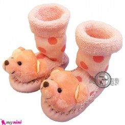 پاپوش عروسکی جغجغه ای نوزاد صورتی خرس Baby socks
