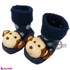 پاپوش عروسکی جغجغه ای سرمه ای میمون قهوه ای Baby socks