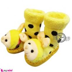پاپوش عروسکی جغجغه ای نوزاد زرد خرگوش Baby socks