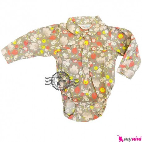 آستین بلند زیردکمه دار کندی وُرد طوسی گل Candy World Kids long sleeve bodysuit