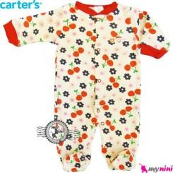 سرهمی کارترز نخی نوزاد و کودک جورابدار آلبالو Carter's baby bodysuit