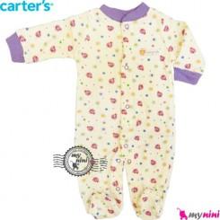 سرهمی کارترز نخی نوزاد و کودک جورابدار یاسی کفشدوزک Carter's baby bodysuit