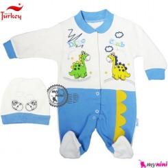 سرهمی نخی کلاهدار دایناسور آبی ترکیه Baby cotton sleepsuit