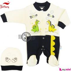 سرهمی نخی کلاهدار دایناسور سُرمه ای ترکیه Baby cotton sleepsuit