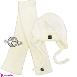 کلاه و شال گرم سفید نوزاد و کودک Baby warm hat and scarf