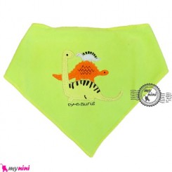 دستمال گردن و آروغ گیر بچه سبز دایناسور Baby cotton scarf bib