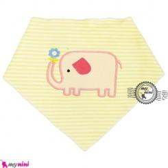 دستمال گردن و آروغ گیر بچه لیمویی فیل Baby cotton scarf bib