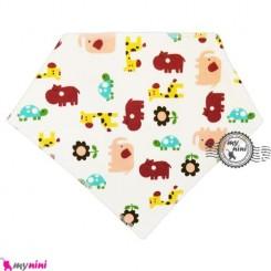 دستمال گردن و آروغ گیر بچه سفید حیوانات Baby cotton scarf bib