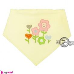 دستمال گردن و آروغ گیر بچه لیمویی گل Baby cotton scarf bib