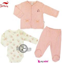 ست ژاکت و بادی و شلوار پنبه ای دونینو ترکیه Turkish donino baby jacket & pants