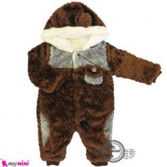 سرهمی خز کلاهدار نوزاد و کودک قهوه ای Baby warm sleepsuit