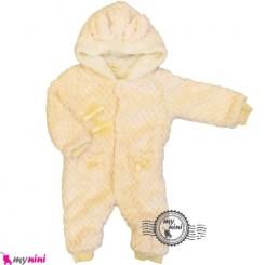 سرهمی خز کلاهدار نوزاد و کودک صورتی یخی Baby warm sleepsuit