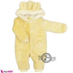 سرهمی خز کلاهدار نوزاد و کودک نباتی Baby warm sleepsuit