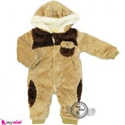 سرهمی خز کلاهدار نوزاد و کودک نسکافه ای Baby warm sleepsuit