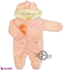 سرهمی خز کلاهدار نوزاد و کودک صورتی Baby warm sleepsuit