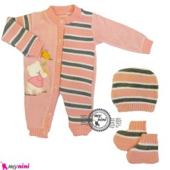 سرهمی بافتنی نوزاد و کودک 3 تکه صورتی ترکیه Baby woolen sleepsuit