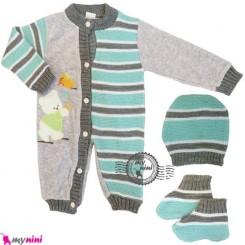 سرهمی بافتنی نوزاد و کودک 3 تکه سبز طوسی ترکیه Baby woolen sleepsuit