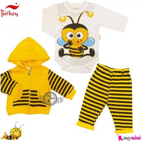 ست سویشرت و بادی و شلوار پنبه ای زنبوری ترکیه Turkish donino baby jacket & pants