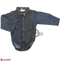 بلوز آستین بلند زیردکمه لی پاپیون طرح دار Kids long sleeve bodysuit