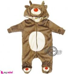 سرهمی مخمل کلاهدار نوزاد و کودک گوزن Baby warm sleepsuit