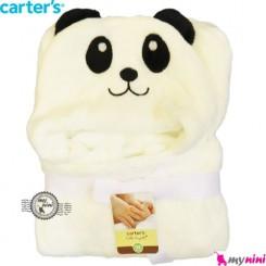 پتو کارترز کلاهدار دورپیچ سفید پاندا Carter's baby hooded blanket