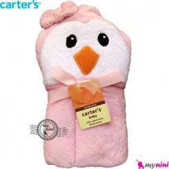 حوله کلاه دار کارترز نوزاد و کودک صورتی پنگوئن Carter's hooded towel