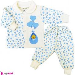 بلوز و شلوار توکُرکی بادکنکی آبی Baby warm clothes