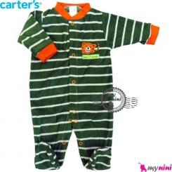 سرهمی مخمل کارترز طوسی قلب Carter's warm sleepsuit