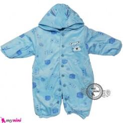 سرهمی کاپشنی نوزاد و کودک پاندا آبی Baby warm sleepsuit