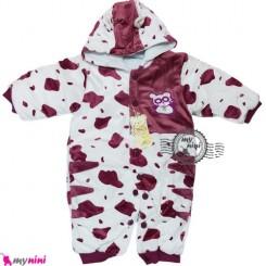 سرهمی کاپشنی نوزاد و کودک پاندا زرشکی Baby warm sleepsuit