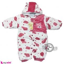 کاپشن سرهمی نوزاد و کودک پاندا رنگ آجری Baby warm sleepsuit