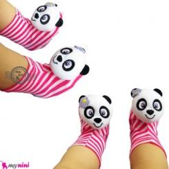 پاپوش نوزاد جغجغه ای صورتی پاندا Baby cute socks