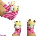 پاپوش نوزاد جغجغه ای صورتی زرافه Baby cute socks
