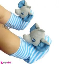 پاپوش نوزاد جغجغه ای آبی فیل Baby cute socks