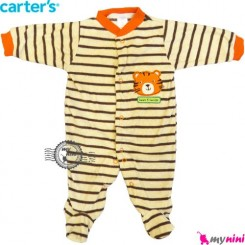 سرهمی مخمل کارترز کِرِم قهوه ای ببر Carter's warm sleepsuit