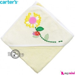 حوله کلاه دار کارترز بچه لیمویی گل Carter's hooded towel
