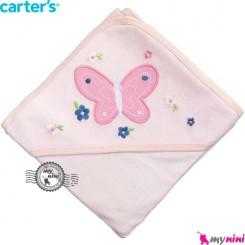 حوله کلاه دار کارترز بچه صورتی پروانه Carter's hooded towel