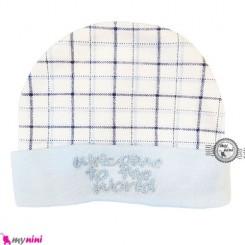کلاه پنبه ای نوزاد چهارخونه تایلندی Newborn cotton hat