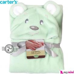 پتو کارترز کلاهدار و دورپیچ سبز خرس Carter's baby hooded blanket