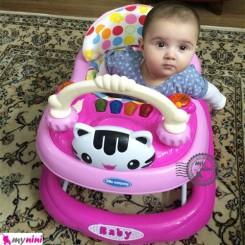 روروئک و واکر کودک کیتی موزیکال صورتی Baby walker
