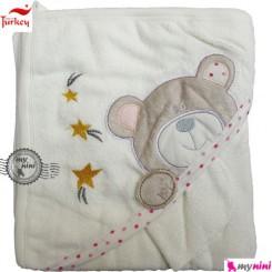 حوله کلاهدار و دست بی بی لاین ترکیه ستاره و خرس turkey baby hooded towel
