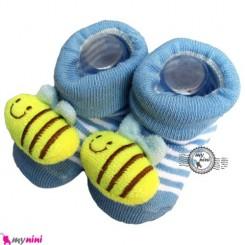 پاپوش عروسکی استُپ دار آبی زنبور Baby cute socks
