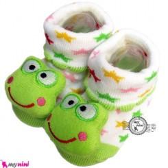 پاپوش عروسکی استُپ دار قورباغه Baby cute socks