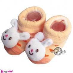 پاپوش عروسکی استُپ دار گل بهی خرگوش Baby cute socks