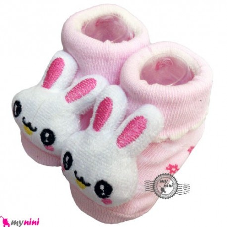 پاپوش عروسکی استُپ دار صورتی گل و خرگوش Baby cute socks