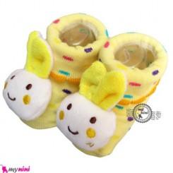 پاپوش عروسکی استُپ دار لیمویی خرگوش Baby cute socks